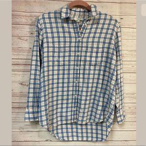 Madewell Long Sleeve Button up Shirt XS Blue Plaid